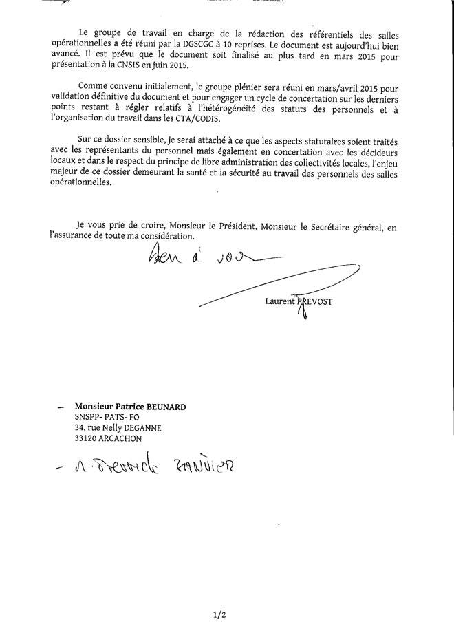 Courrier du Ministère de l'intérieur sur le CTA/CODIS