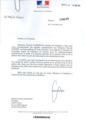 Courrier du Ministère de l'Intérieur du 30 mars 2015
