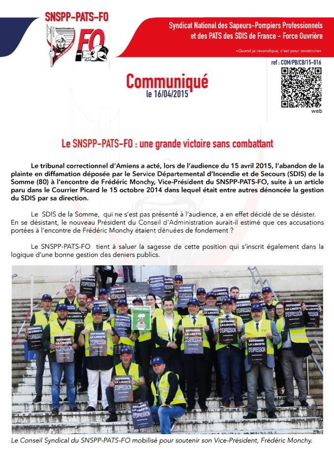 SNSPP-PATS-FO soutient son Vice-Président face au SDIS 80