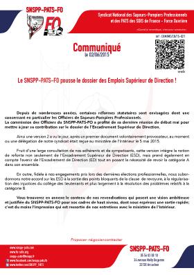 Le SNSPP-PATS-FO pousse le dossier des Emplois Supérieur de Direction !