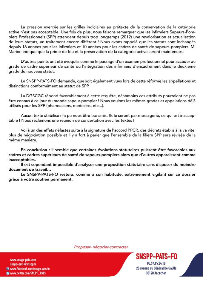 Pas de chèque en Blanc pour la réforme statutaire des infirmiers d'encadrements !