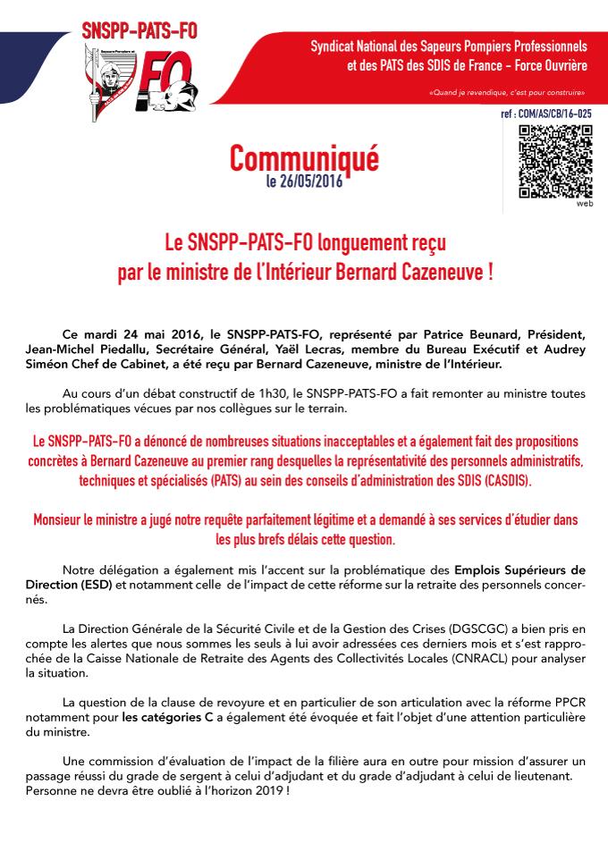 Le SNSPP-PATS-FO longuement reçu par le ministre de l'Intérieur Bernard Cazeneuve !