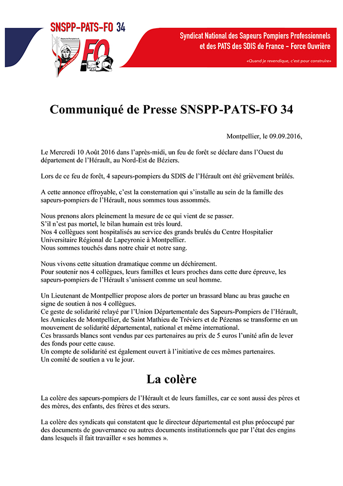 Communiqué du SNSPP-PATS-FO 34