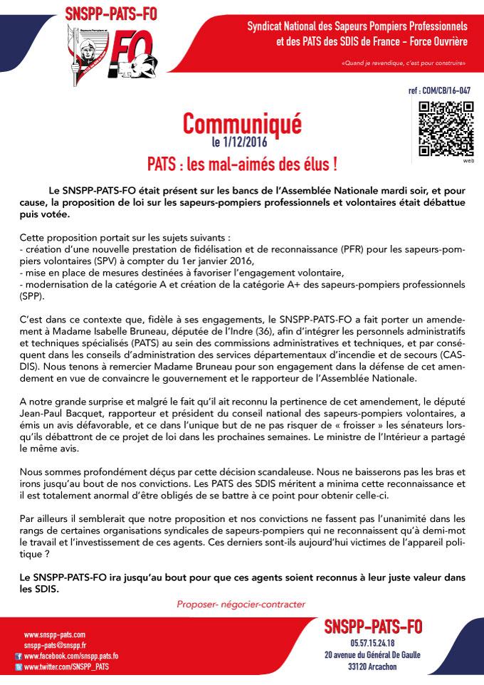 Déclaration liminaire CAP des officiers de SPP - 29 novembre 2016