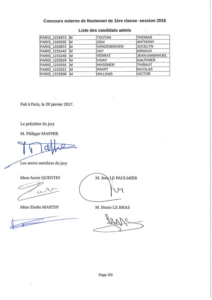 Liste des candidats admis au concours interne de lieutenant 1ère classe - session 2016