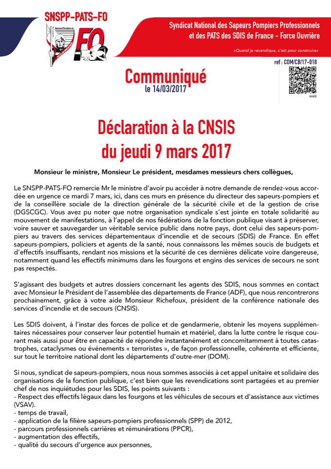 Déclaration à la CNSIS du jeudi 9 mars 2017