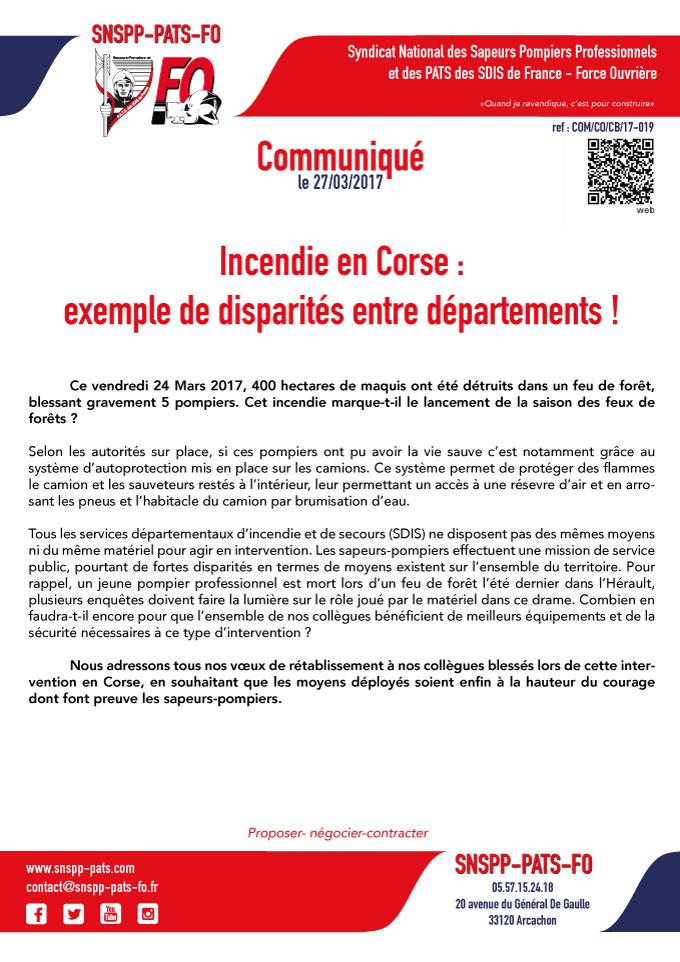 Incendie en Corse : exemple de disparités entre départements !