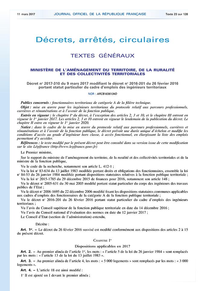 Parution de décrets sur les statuts des ingénieurs territoriaux.