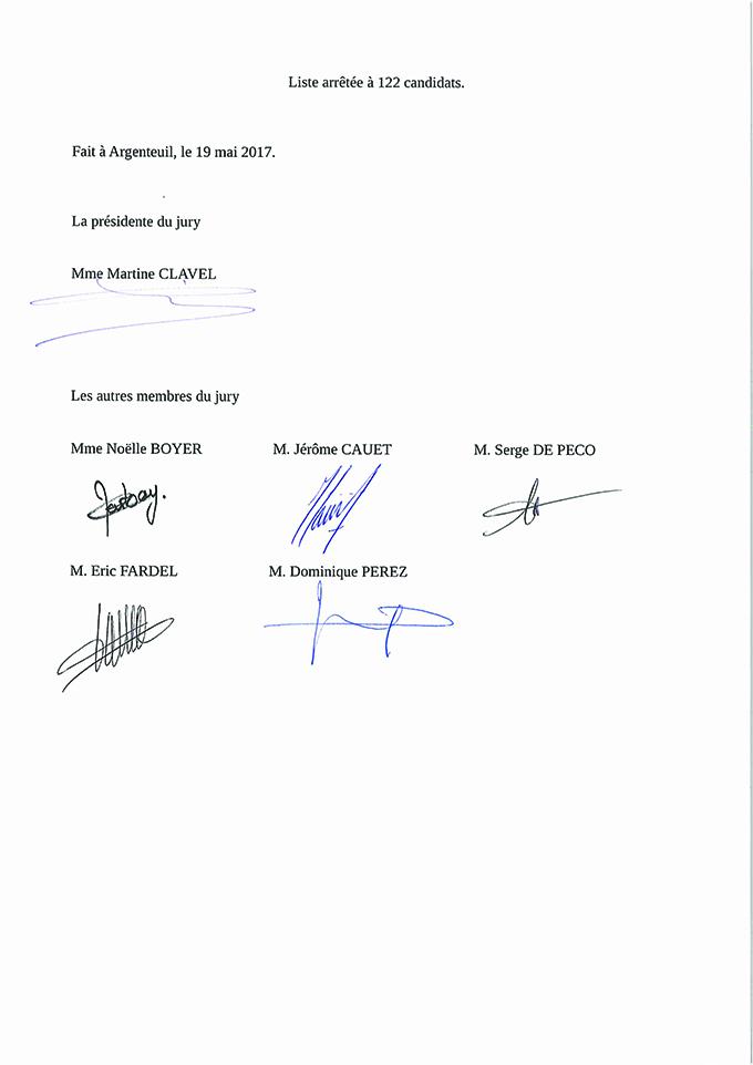 Liste des candidats admis à l'examen professionnel de Lieutenant 2eme classe session 2016
