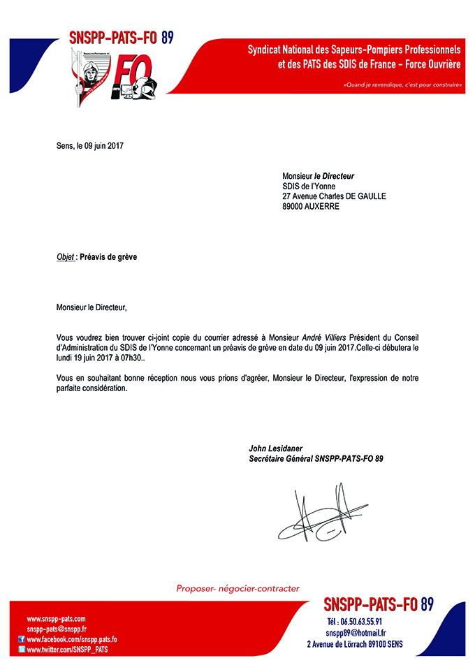 Le SNSPP-PATS-FO 89 dépose un préavis de grève