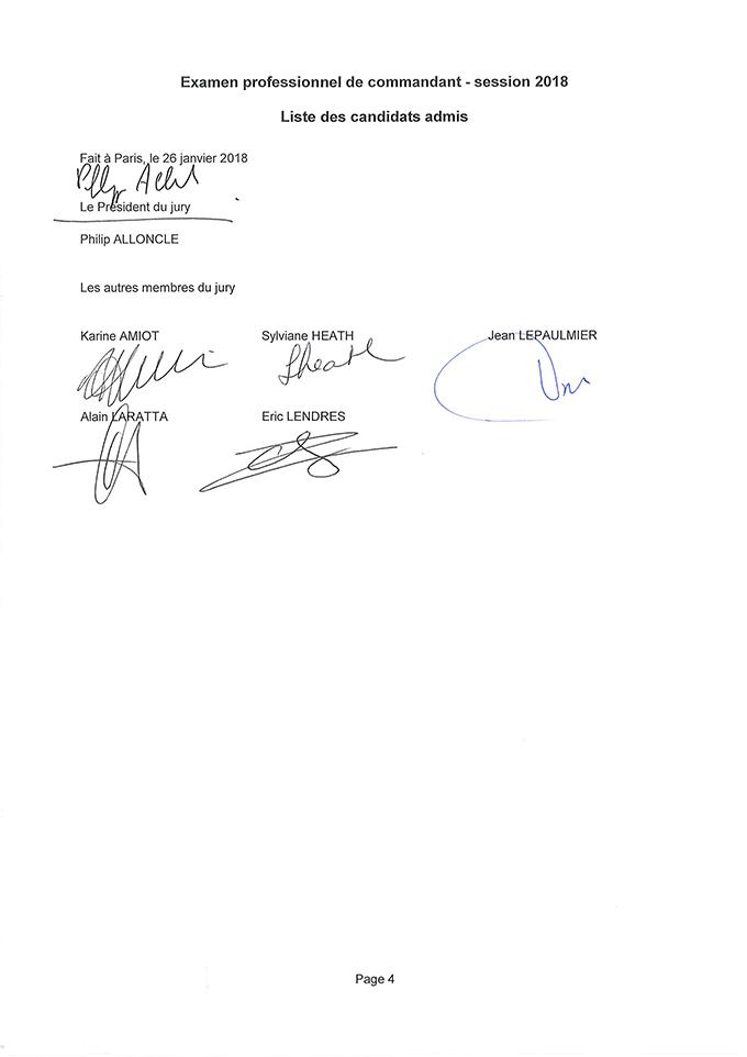 Liste des candidats admis à l' examen professionnel de commandant session 2018
