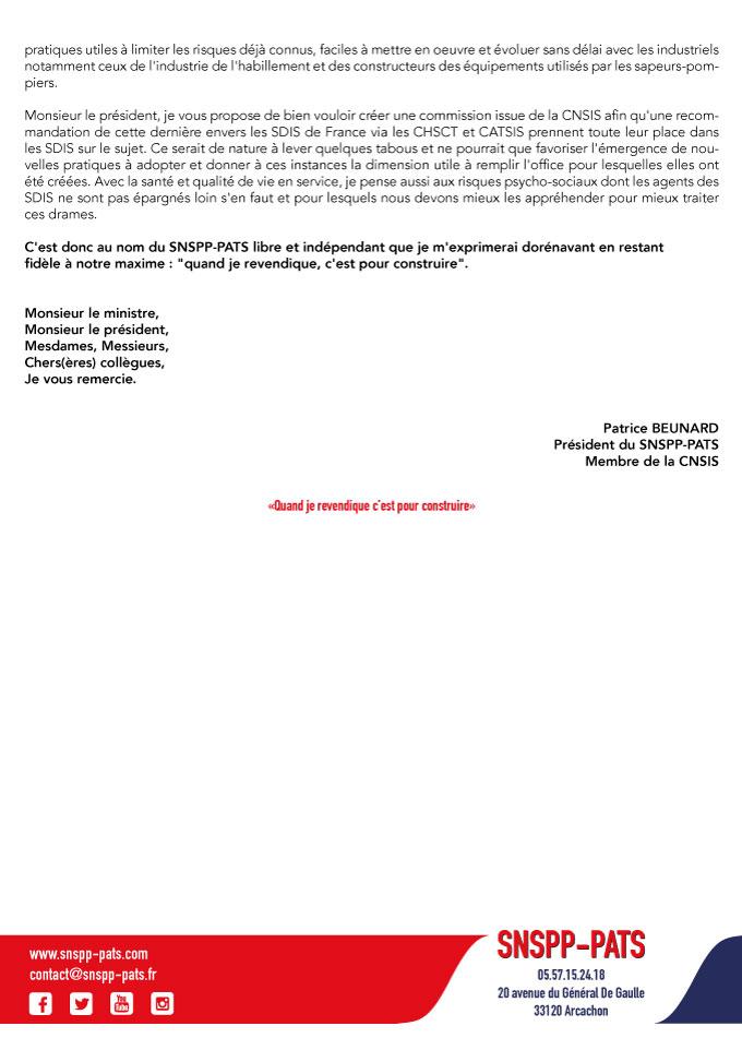 Déclaration liminaire à la CNSIS du 29 novembre 2017