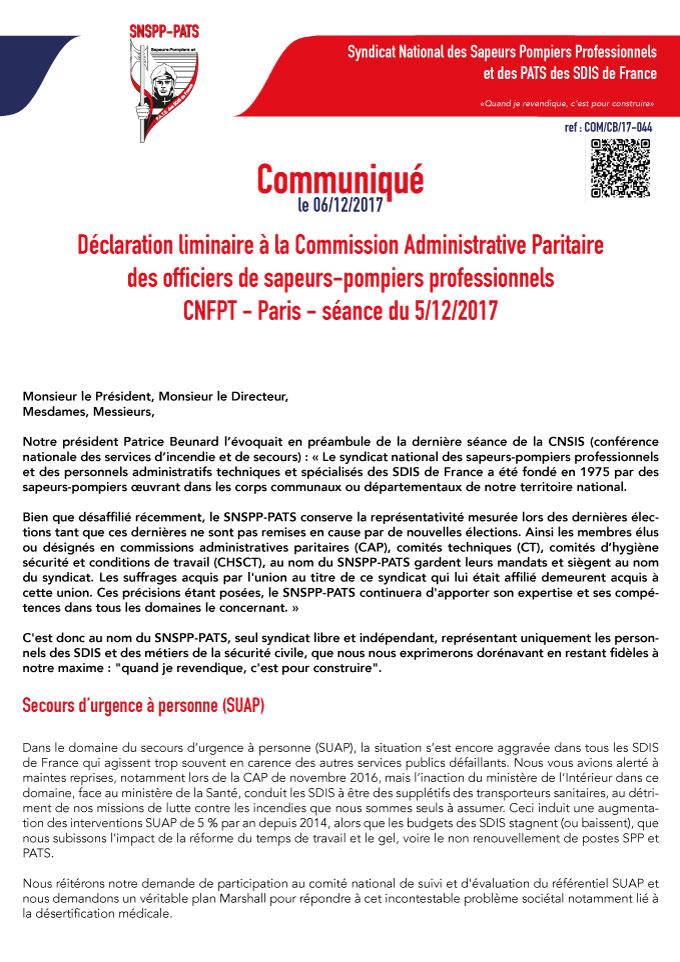 Déclaration liminaire du SNSPP-PATS à la Commission Administrative Paritaire des officiers de sapeurs-pompiers professionnels du 5 décembre 2017 (CNFPT-Paris)