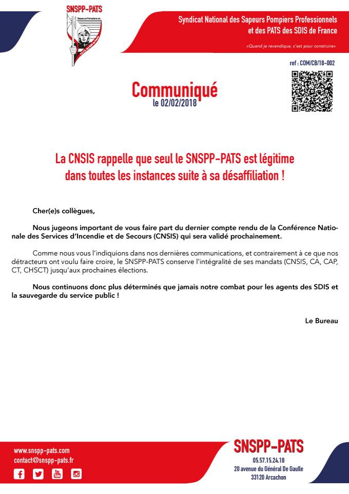 CNSIS : seul le SNSPP-PATS est légitime !